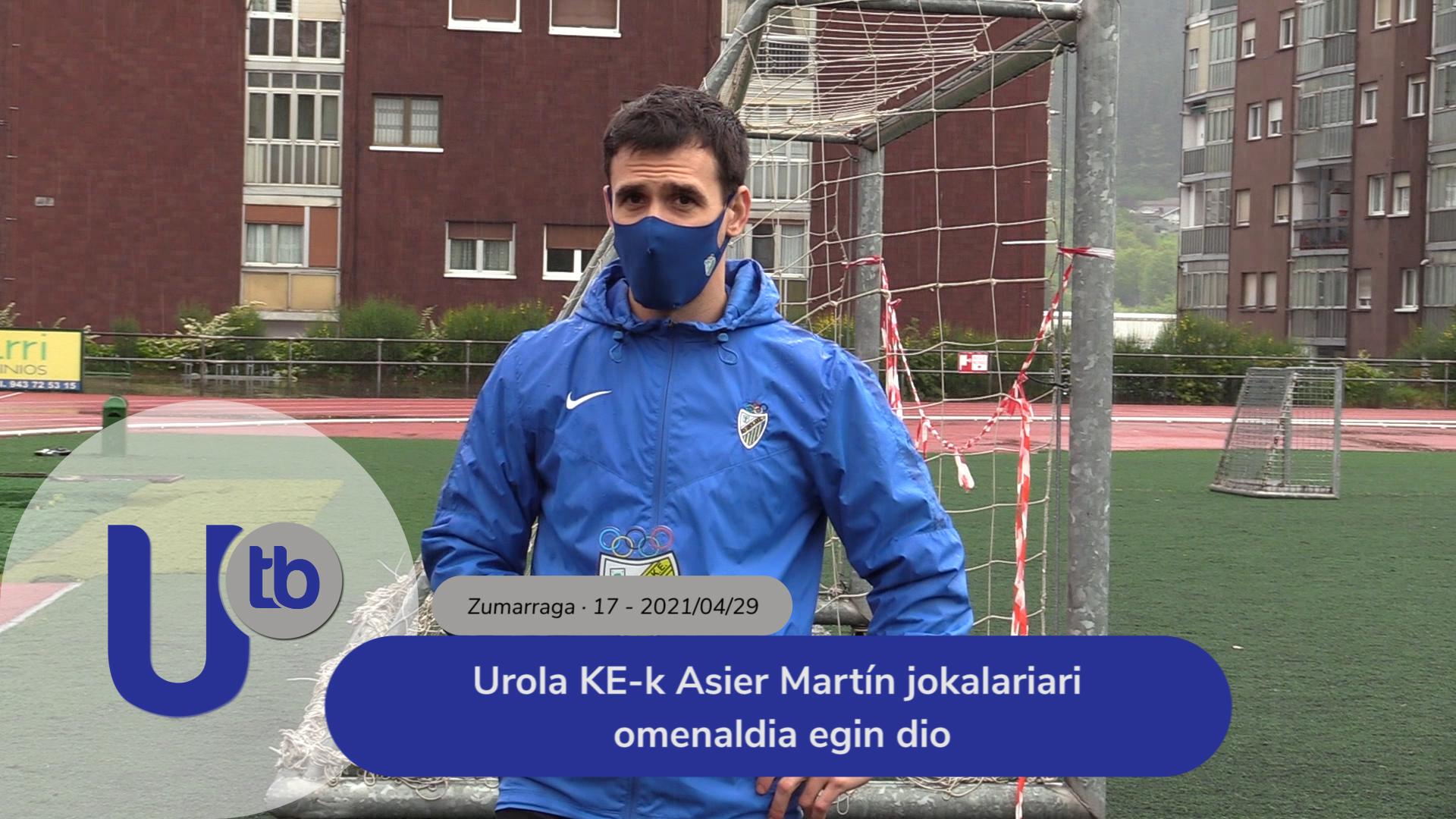 Urola KE-k Asier Martín jokalariari omenaldia egin dio / S.D. Urola homenajea al jugador Asier Martín